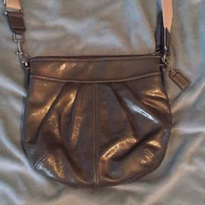Coach pewter patent leather crossbody